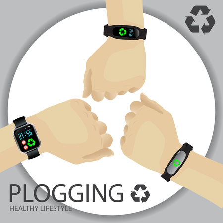 Plogging Concept. Healthy Lifestyle. A Human Hand With Wristband, Tracker, Smartwatch. Recycle Symbol. Plocka Up Design For Green Environment Movement. Vector.
