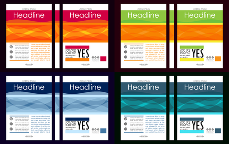 Colorful set of A4 Business Book Cover Design Templates. Good for Portfolio, Brochure, Annual Report, Flyer, Magazine, Academic Journal, Website, Poster, Monograph, Corporate Presentation. Illustration