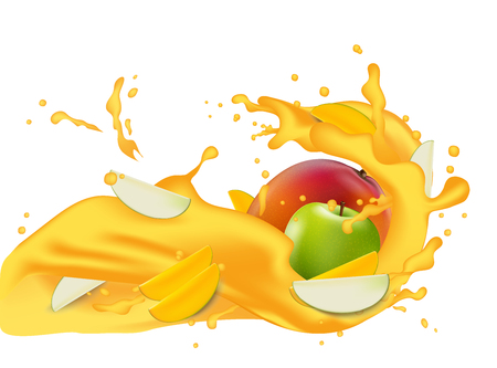 Yellow juice 3d illustration with slices of mango, peach, apricot, nectarine, apple. Pouring wave splash for packaging template. Realistic organic healthy fruit product. Vector EPS10. Çizim