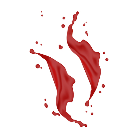 3d realistic twisted red splash with drops. Isolated wave on white background. Juice Product package design.