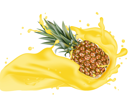 Pineapple 3d vector with realistic splash design elements. Packaging splashing falling ananas for juice, coffee, milk, water, cocktail, chocolate. Good for web design. EPS 10.