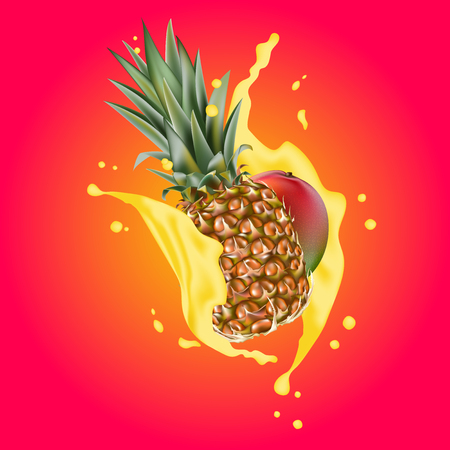 Splash of ananas juice. Mango and pineapple. 3d realistic vector EPS 10. Packaging template. Mango leaves. Colourful background. Brand advertising.