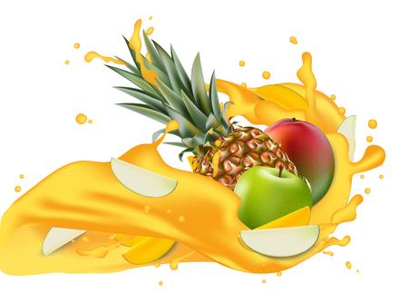 Splash of ananas juice. Mango, apple and pineapple. Packaging template. Brand advertising. Apple slices flowing in the splashing multifruit juice wave. Illustration