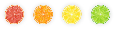Realistic 3d Vector illustration Set of sliced  orange, grapefruit, lemon, and lime.  Colourful citrus background. EPS 10.