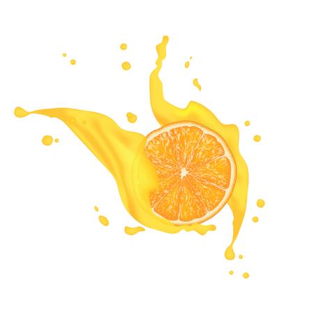 Cocktail realistisch sap. 3d sinaasappel, citroenfruit met dalende plakjes en opspattend sap. Ontwerpelementen van de verpakking. Sappige reclame citrus. Vector Eps 10.
