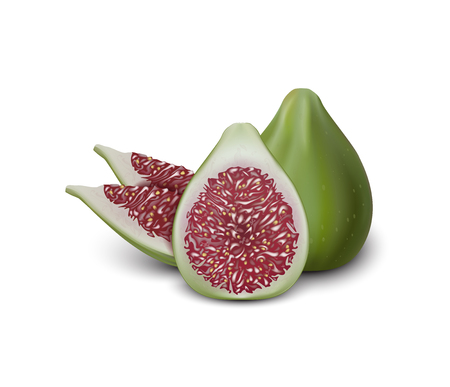 Red and Green Fig. Realistic 3d Figs Slices. Detailed 3d Illustration Isolated On White. Design Element For Web Or Print Packaging. Vector Illustration.