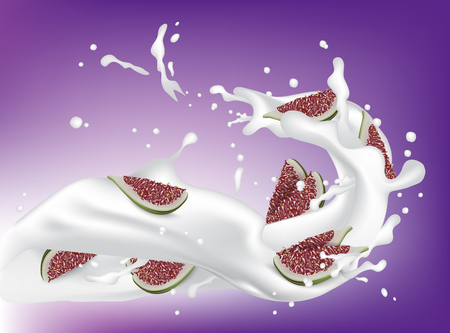 Red and Green Fig. Realistic 3d Figs With Splashing Milk. Detailed 3d Illustration Isolated On Purple with Yogurt Splash. Design Element For Web Or Print Packaging. Vector EPS10.