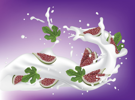 Red and Green Fig. Realistic 3d Figs Slices With Leaves Splashing Milk. Detailed 3d Illustration Isolated On Purple with Yogurt Splash. Design Element For Web Or Print Packaging. Vector EPS10. Vettoriali