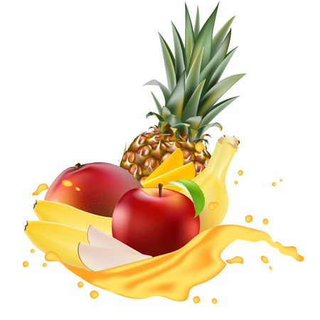Vector ads 3d promotion banner, Realistic mango, apple, banana, pineapple  splashing with falling slices, juice drops, vitamins, leaves. Ice cream, yogurt brand advertising. Label poster template.