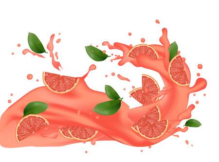Grapefruit plons illustratie. Spattend sap. Cocktail vallende roze segmenten geïsoleerd op de achtergrond. Advertentiebanner. Productontwerp. Vectoreps 10.