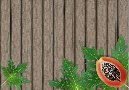 Papaya leaves on wooden background. Exotic leaf banner on wood. Vector illustration.
