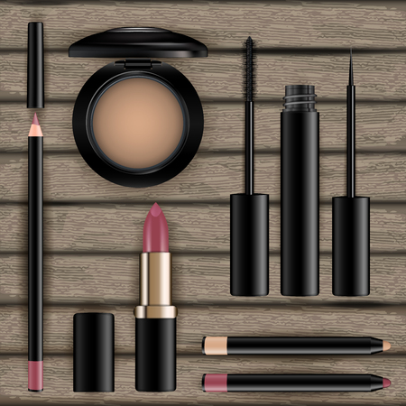 Makeup cosmetics set on wood background. Eye shadow, eyeliner, gold red lipstick, powder compact, mascara, pencil. Realistic template of containers. Vector illustration.