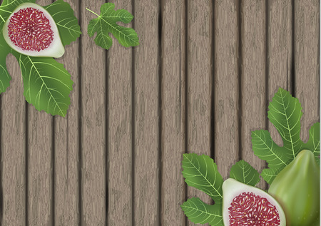 Fig leaves on wooden cutting board. Figs leaf. Banner design elements. Vector illustration.  イラスト・ベクター素材