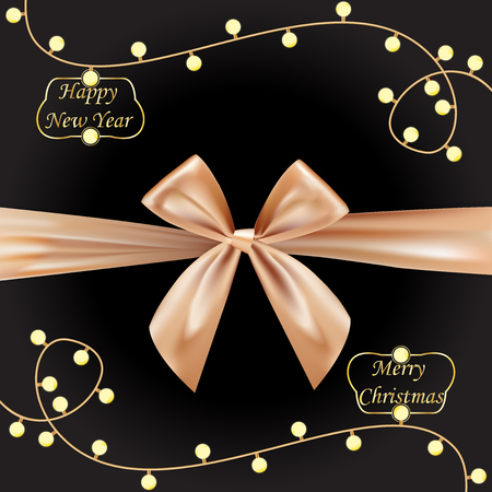 Golden brown realistic bows for gift box on dark background. Silk ribbon, 3d gift bow tie for Christmas, New Year, holidays. Light bulbs. Vector illustration.