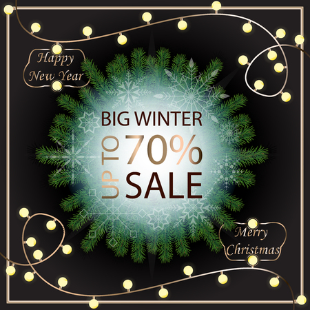 Sale banner template design. Sale poster of Christmas. Big winter sale discount. Graphic poster, geometric brochure, Christmas cards. Sale inscription design elements. Vector illustration.
