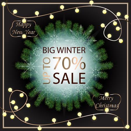 Sale banner template design. Sale poster of Christmas. Big winter sale discount. Graphic poster, geometric brochure, Christmas cards. Sale inscription design elements. Vector illustration.