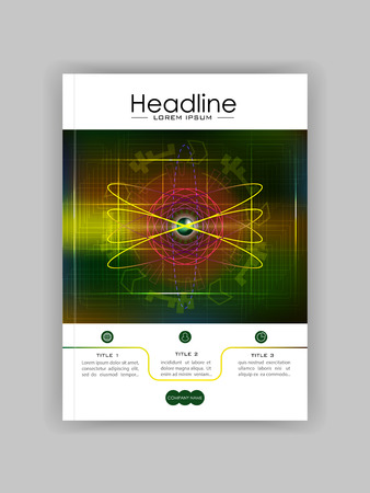 Futuristic future sci fi atom with internet technology and business interface background with numbers. Infographic data. HUD. Cover template for journals, conference, banner, book. Vector illustration