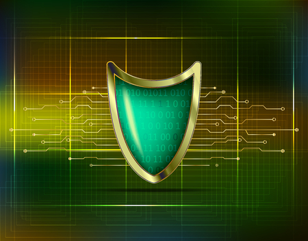 Cyber security antivirus concept with gold green blue shield, futuristic lines and numbers. Protected web privacy technology design. Network security guard. Vector Illustration.  イラスト・ベクター素材