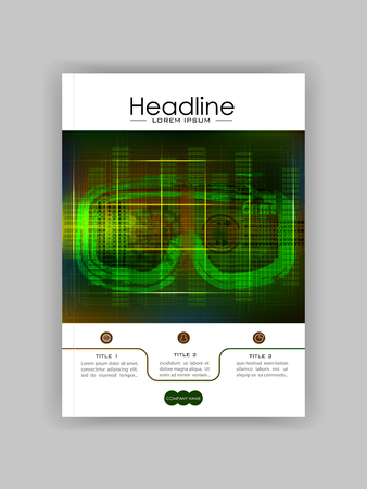 Technology Banner With Hud, Gui Banner Design Elements. Head-up Display Monitor. Futuristic User Cover. Infographic Menu Ui For Vr. VR goggles. Hologram headset. Game glasses. Vector Illustration