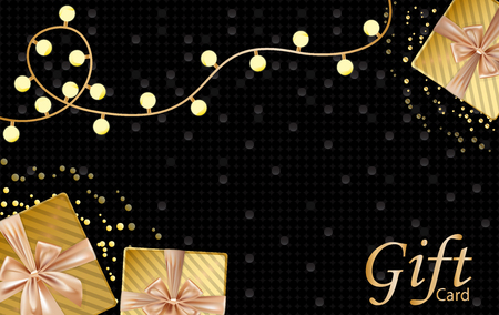 New year and Merry Christmas gift card with velvet gold gift boxes, lamp bulbs, dark gorgeous background with golden bubbles. Place for text. Vector illustration.