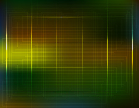 Computer electronic scheme technology background circuit. Futuristic lines in green, yellow and blue. Good for web design. Vector Illustration