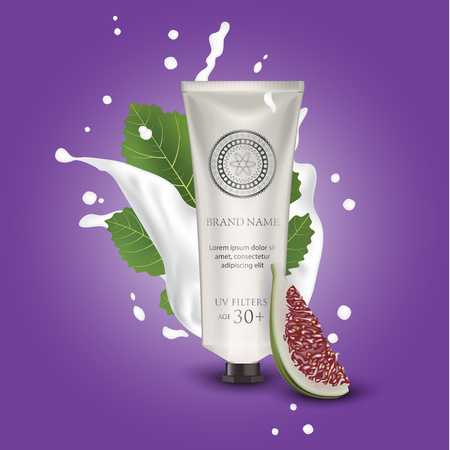 Cosmetic luxury packaging, plastic tube. Container white. Tube mock-up for oil, face moisturizer cream, toothpaste, scrub or gel. Figs. Leaf. Splashing cream milk. Vector Illustration.