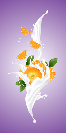 Realistic illustration 3d vector fruit and milk flow. Slices falling into the yogurt. Milk splash with orange. Template for advertising, promotion, packaging, label.