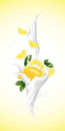 Realistic illustration 3d vector fruit and milk flow. Slices falling into the yogurt. Milk splash with lemon. Template for advertising, promotion, packaging, label.