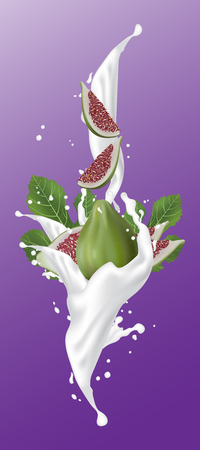 Realistic illustration 3d vector fruit and milk flow. Slices falling into the yogurt. Milk splash with figs. Template for advertising, promotion, packaging, label. Illustration