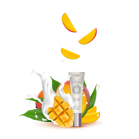 Organic Cosmetic luxury packaging, plastic tube. Cosmetics cream  magazine ads product with mango fruit. 3d Realistic packaging body scrub. Splashing cream milk.  Label design vector illustration.