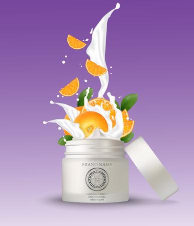 Vaso di plastica cosmetico con spruzzi di crema all'arancia. Modello di mockup sfondo bianco isolato. Contenitore cosmetico 3d per crema, polvere o gel. Elemento di design dell'imballaggio. Illustrazione vettoriale.