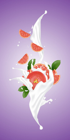 Realistic illustration 3d vector fruit and milk flow. Slices falling into the yogurt. Milk splash with grapefruit. Template for advertising, promotion, packaging, label.