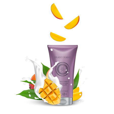 Cosmetic luxury packaging, plastic tube. Container white. Tube mock-up for oil, face moisturizer cream, toothpaste, scrub or gel. Mango. Leaf. Splashing cream milk. Vector Illustration. 矢量图像