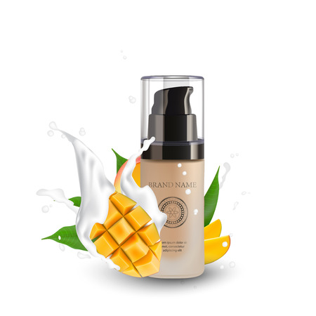 Soap, Lotion, Spa Cosmetics Container with mango. Bottle Tube For Liquid Hair Shampoo. Skin Care. CC, BB face cream. Toner. Make up foundation. 3d Realistic Packaging Design Element.