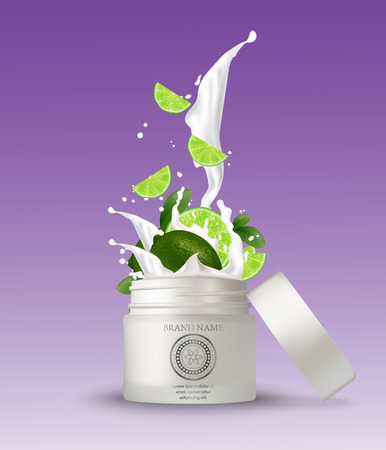 Lime splashing cosmetics. Yoghurt splash isolated illustrations on a white background. Packaging with natural cosmetics: bottle, tube, container. Vector. Illustration