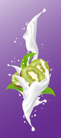 Kiwi milk juice splash. Bright kiwi splashing yogurt design elements. Falling kiwi slices with leaves. Vector Illustration.  イラスト・ベクター素材