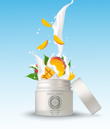 Cosmetic plastic jar with mango cream splashing. Isolated white background  mockup template. 3d cosmetic container for cream, powder or gel. Packaging design element. Vector illustration.