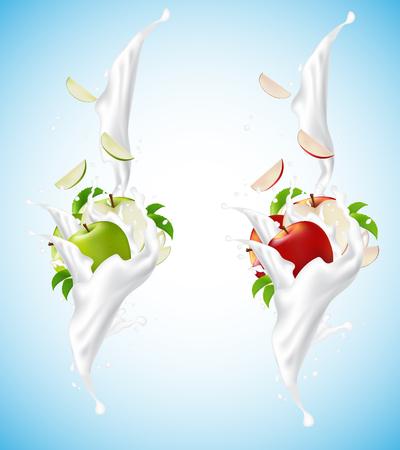 Red and green apple set splashing into milkshake. On the blue background. Falling slices. Packaging design. Vector Illustration. Illustration