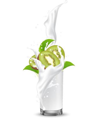 Kiwi fruit cocktail. Splash milk swirl in the realistic glass. 3d Realistic Vector