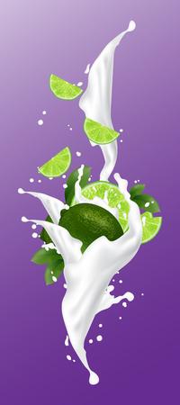 Lime milk juice splash. Bright lime splashing yogurt design elements. Falling lime slices with leaves. Vector Illustration.  イラスト・ベクター素材