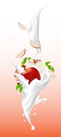 Red falling slices of apple in yogurt flow with milk splash in a bowl. Realistic vector illustration design. 일러스트