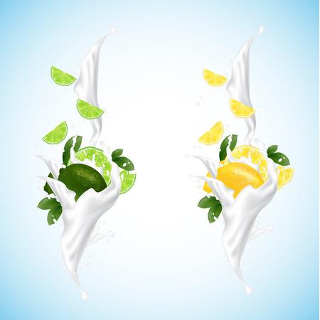 Lemon and lime splashing set with milk, yogurt, falling slices. 3d realistic vector design on blue background. Illustration.
