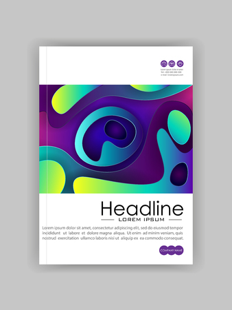 Colorful rounded futuristic cover design. Modern style geometric pattern. Banner flyer advertisement. Vector Illustration.