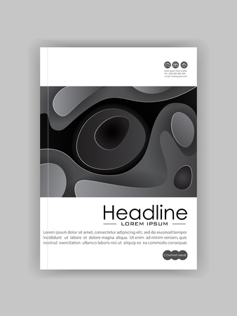 Book cover design template in A4 with minimalist design. Good for journals, conference, banner, flyer, book, booklet, art presentation. Black and white. Vector Illustration.  イラスト・ベクター素材