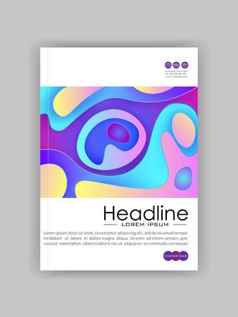 Buchcover-Designvorlage in A4 mit minimalistischem Design. Gut für Zeitschriften, Konferenzen, Banner, Flyer, Bücher, Broschüren, Kunstpräsentationen. Vektor-Illustration.