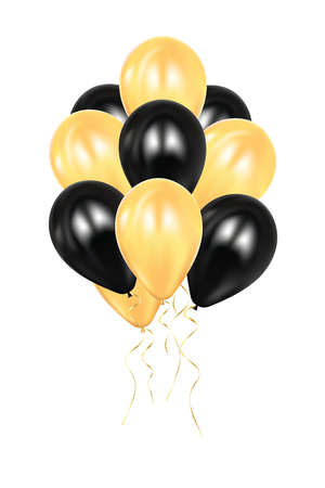 Realistic 3d black and golden ballons Vector Illustration. EPS 10. Colorful glossy Ballon. Balloons isolated mockup for anniversary, birthday party. Design element. Wedding, start up decoration.