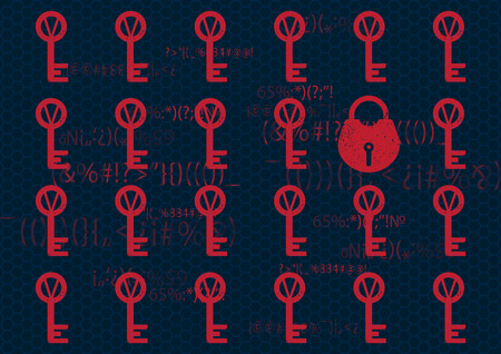 Cyber security futuristic background with key and lock. Antivirus concept. Vector Illustration.