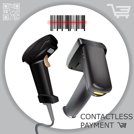 Hand held wireless barcode scanner reader scanning bar code on white background. Laser beam. Vector illustration in 3d realistic contactless style.