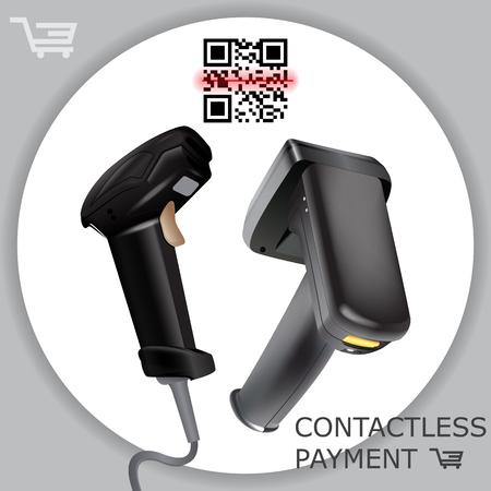 Handheld drahtloser Barcode-Scanner-Leser, der Barcode auf weißem Hintergrund scannt. Laserstrahl. Vektorillustration im realistischen kontaktlosen 3D-Stil.