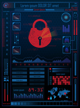 Futuristic future sci fi cyber security hud with internet technology and business interface background with map, lock. Infographic data. Head-Up Display, HUD. Vector.